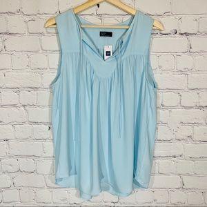 GAP Light Blue Sleeveless Peasant Blouse XL NWT